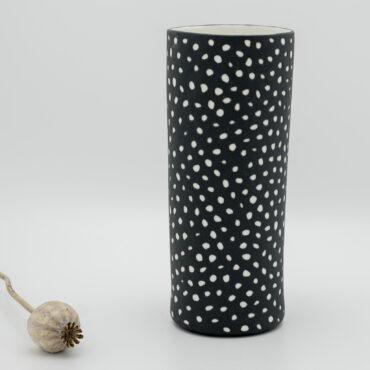handmade porcelain vase 20 cm black moon