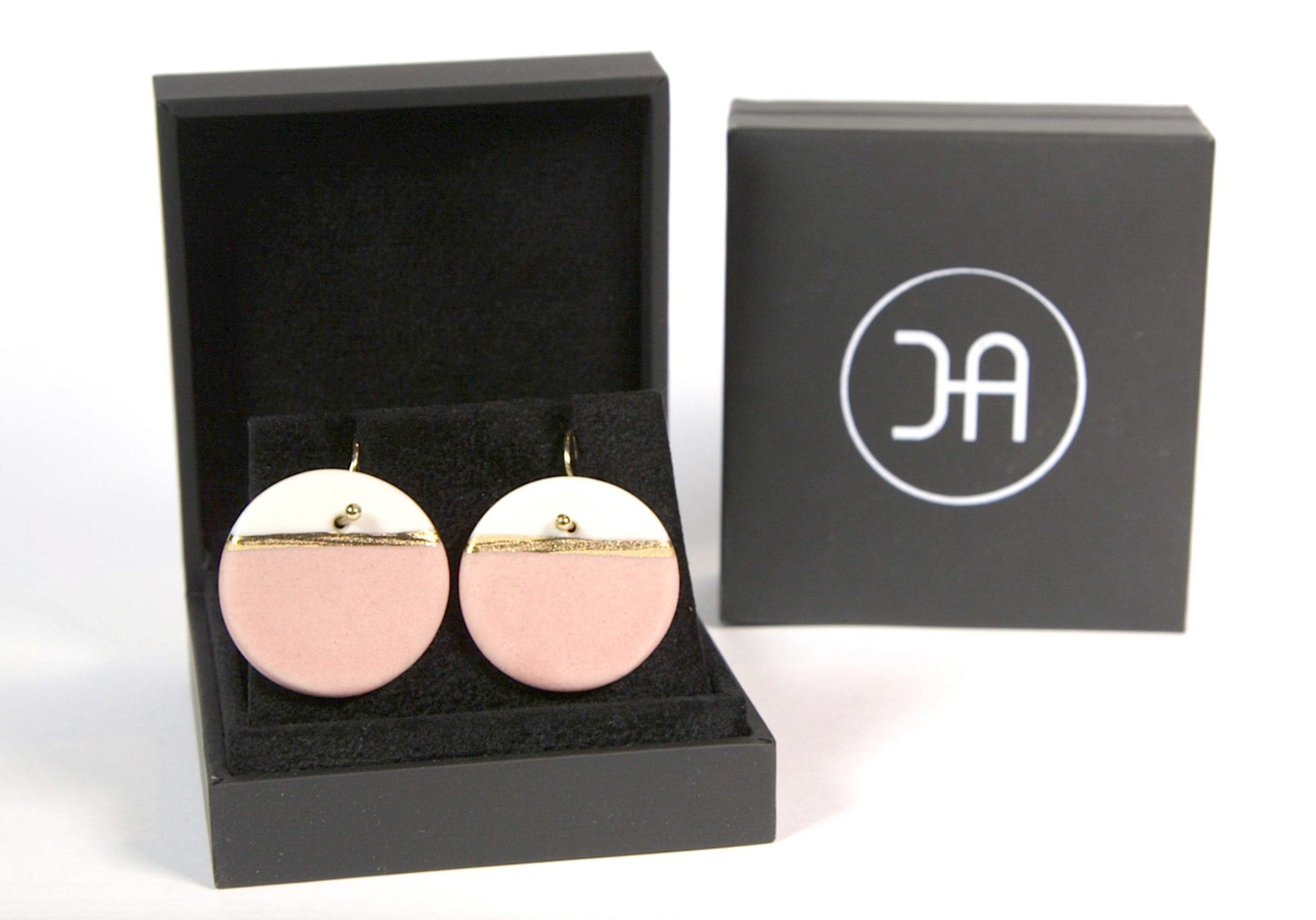 Earrings 'GOLDEN HORIZON' large pink [E-GH-L-p]