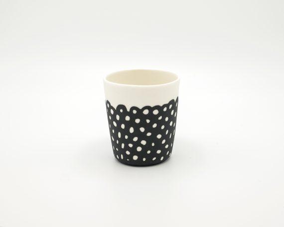 handmade porcelain espresso cup black moon