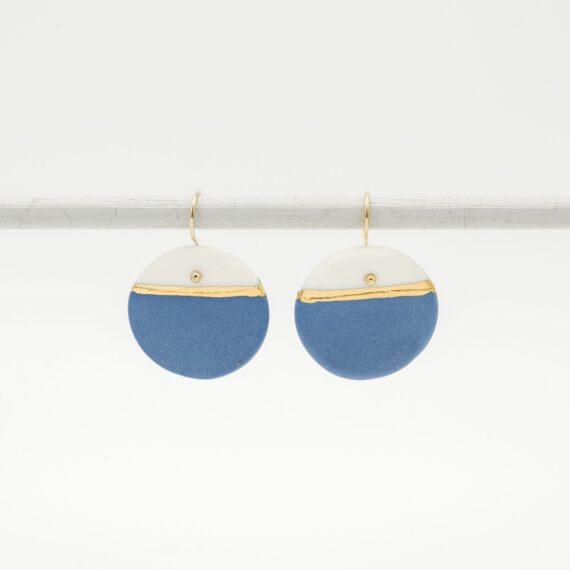 handmade porcelain earrings blue gold horizon