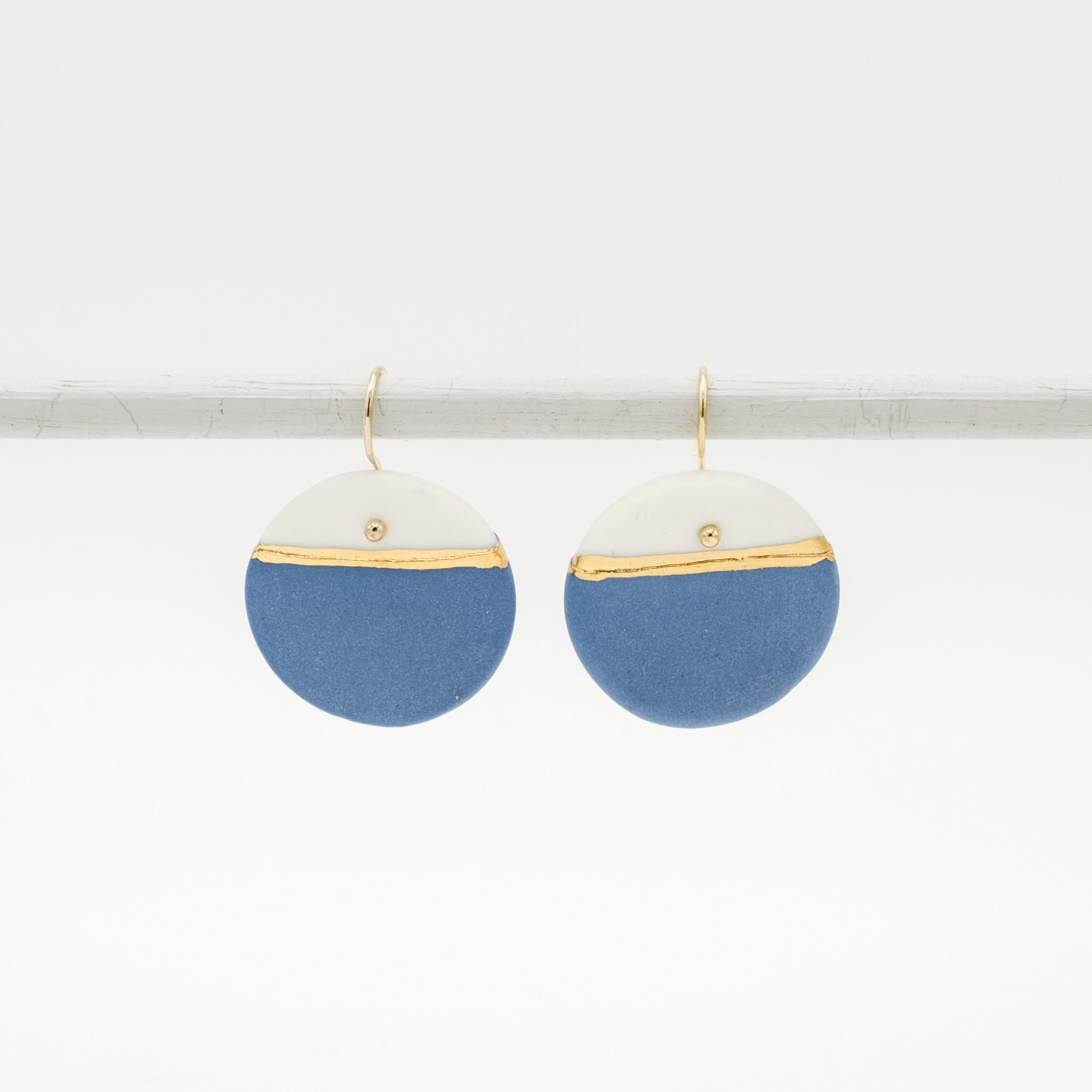 handmade porcelain earrings blue gold horizon
