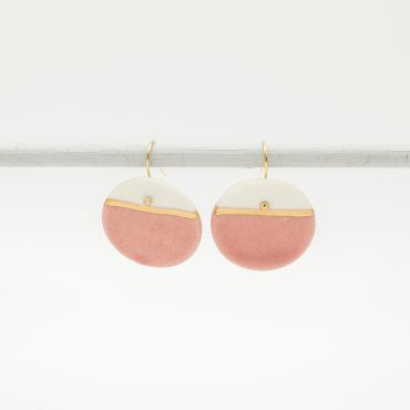handmade porcelain earrings pink horizon