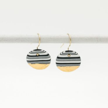 handmade porcelain earrings nerikomi gold black medium
