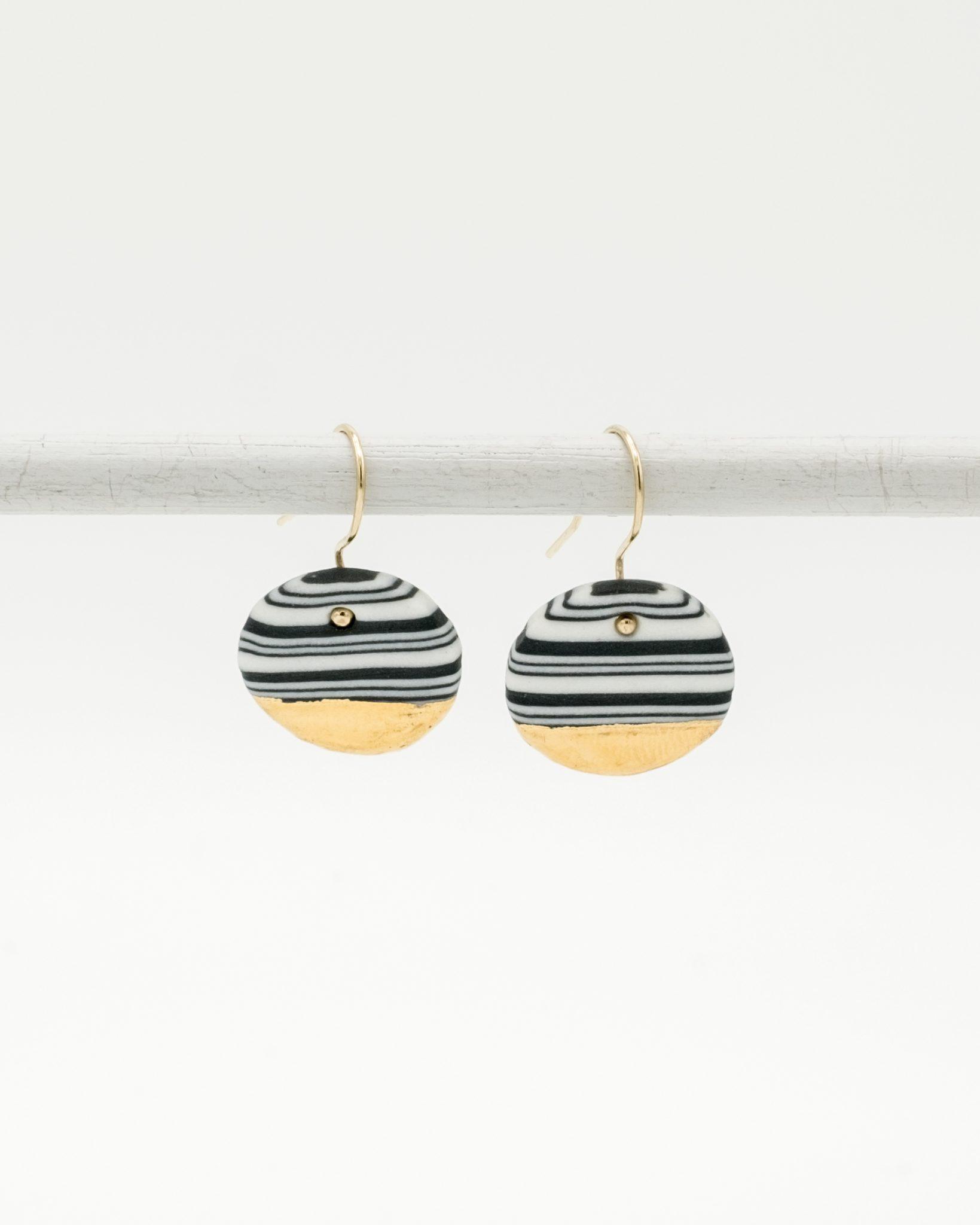 handmade porcelain earrings nerikomi gold black medium