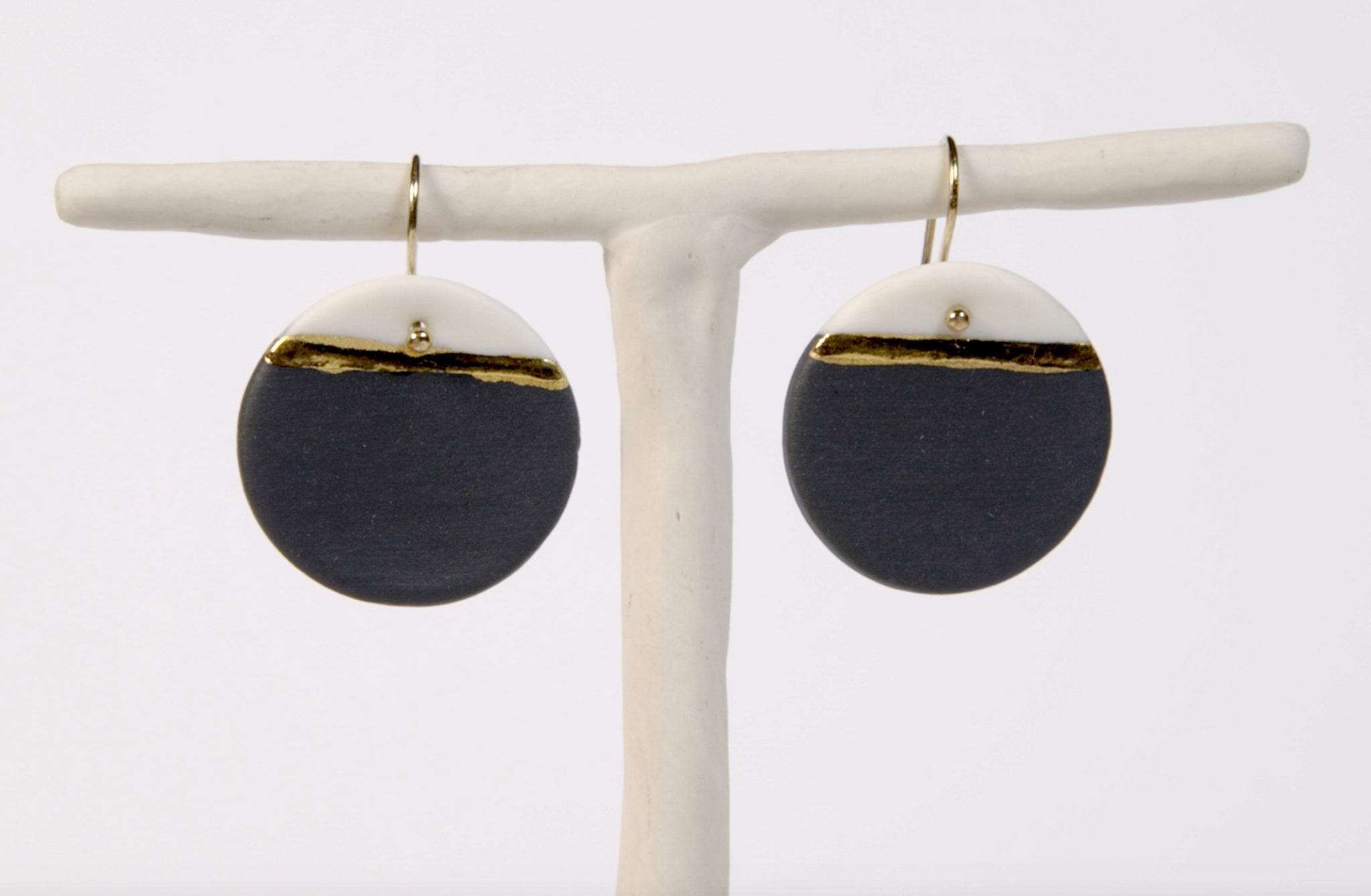 Earrings 'GOLDEN HORIZON' large black&white [E-GH-L-bw]