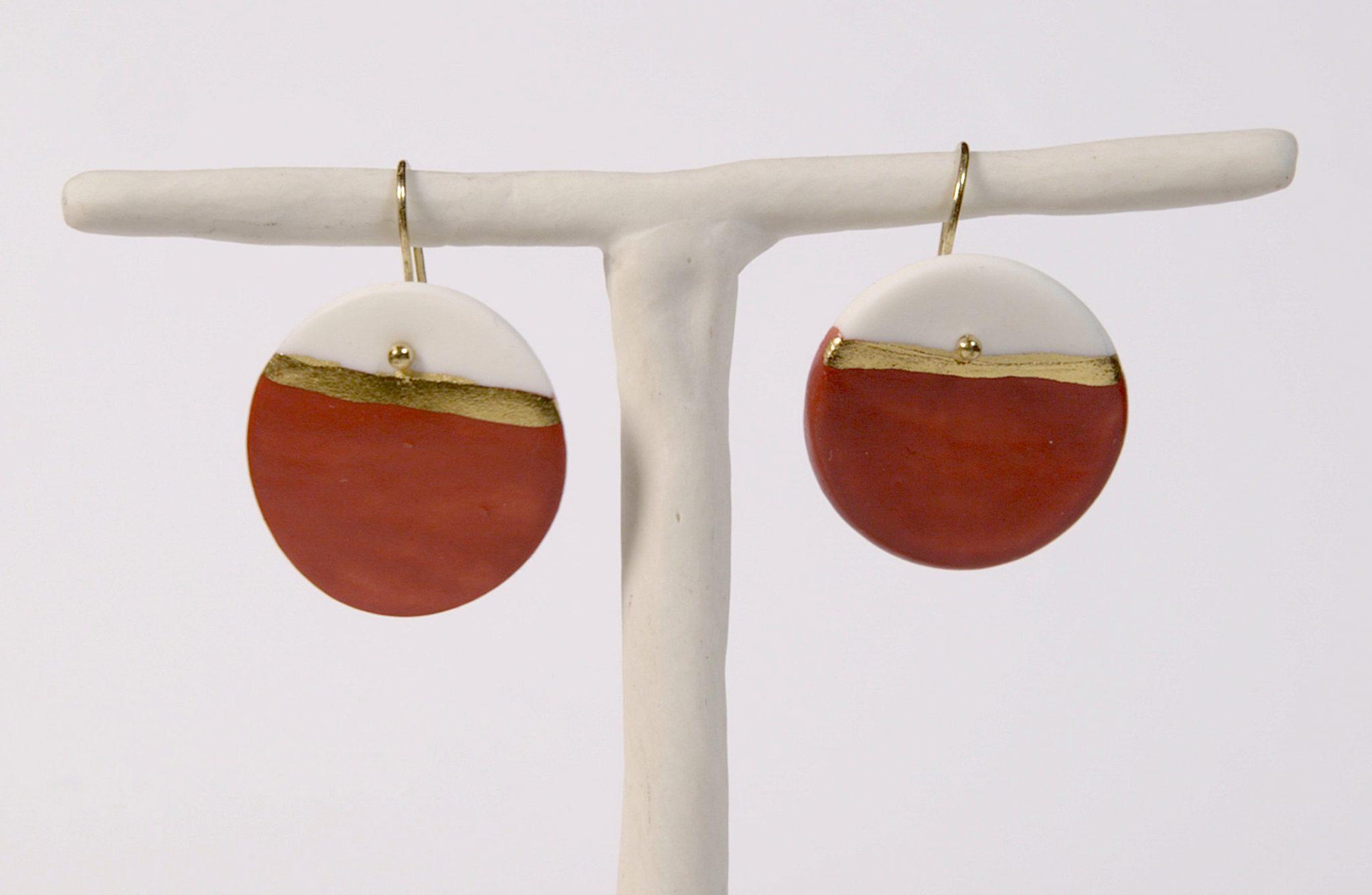 Earrings 'GOLDEN HORIZON' large red [E-GH-L-r]