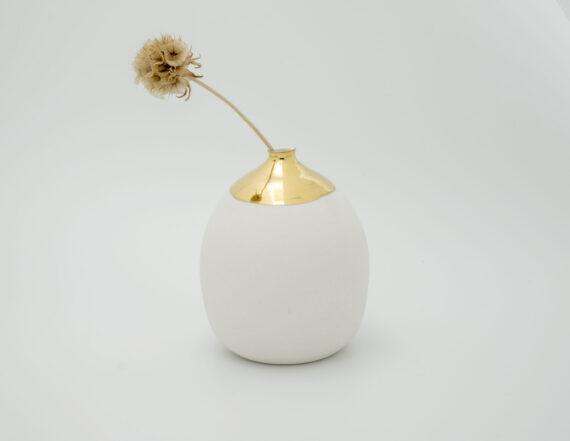 handmade porcelain one flower vase gold