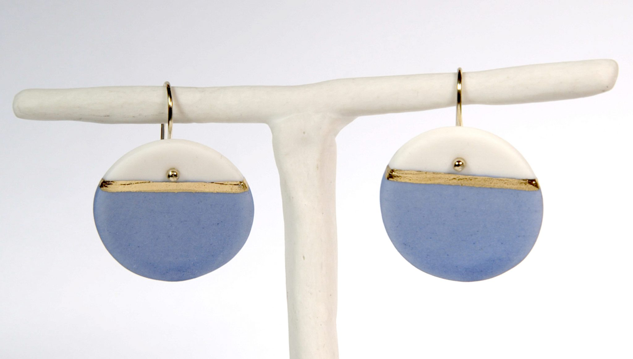 Earrings 'GOLDEN HORIZON' large blue [E-GH-L-bl]