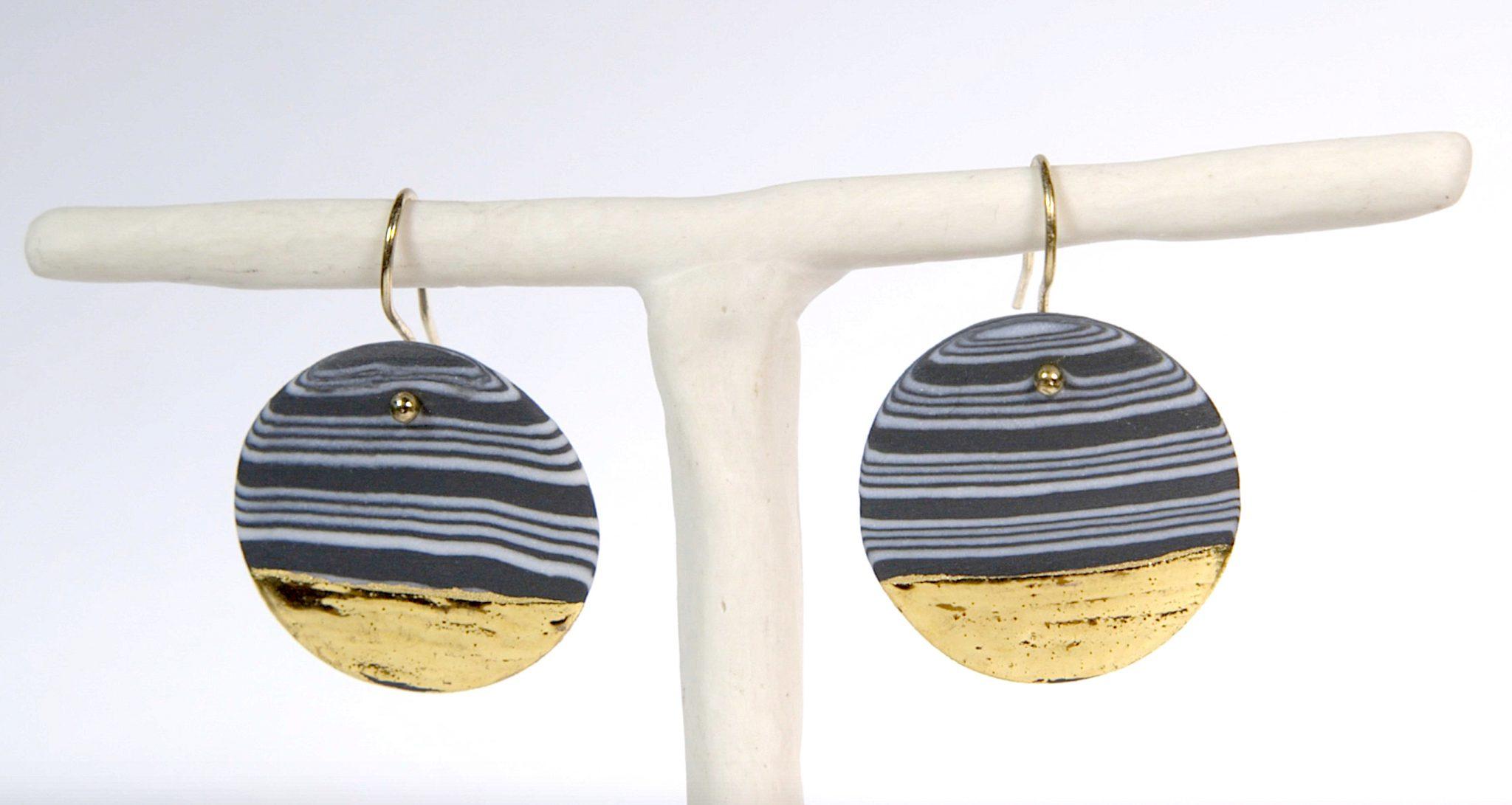 Earrings 'NERIKOMI GOLD' large [E-NEG-L]
