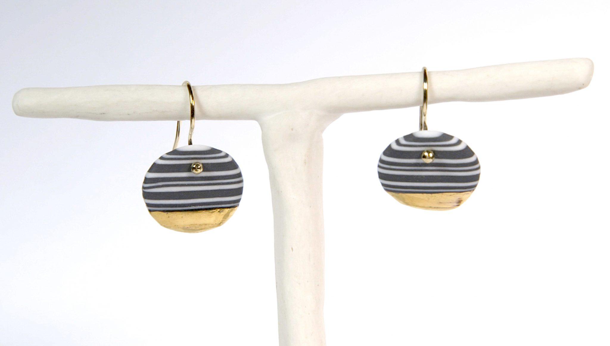 Earrings 'NERIKOMI GOLD' medium [E-NEG-M]