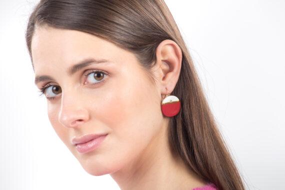 handmade porcelain earrings horizon red L