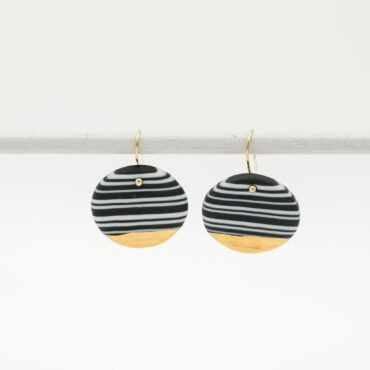 handmade porcelain nerikomi earrings black and white