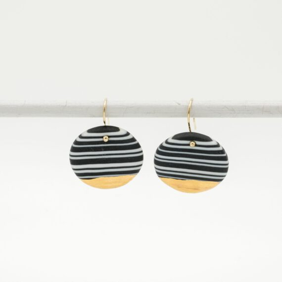 handmade porcelain nerikomi earrings black and white