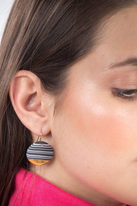 handmade porcelain earrings nerikomi gold black large