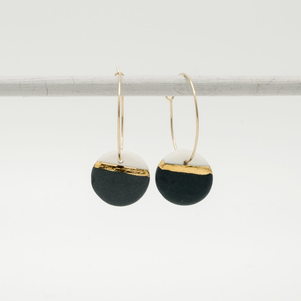horizon black porcelain earring