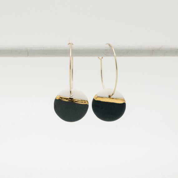 horizon black porcelain earring