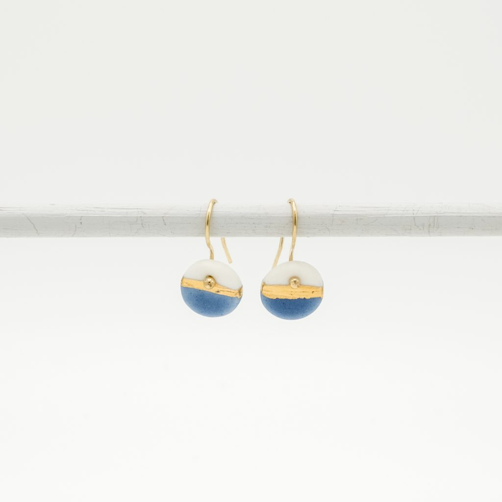 handmade porcelain earrings blue