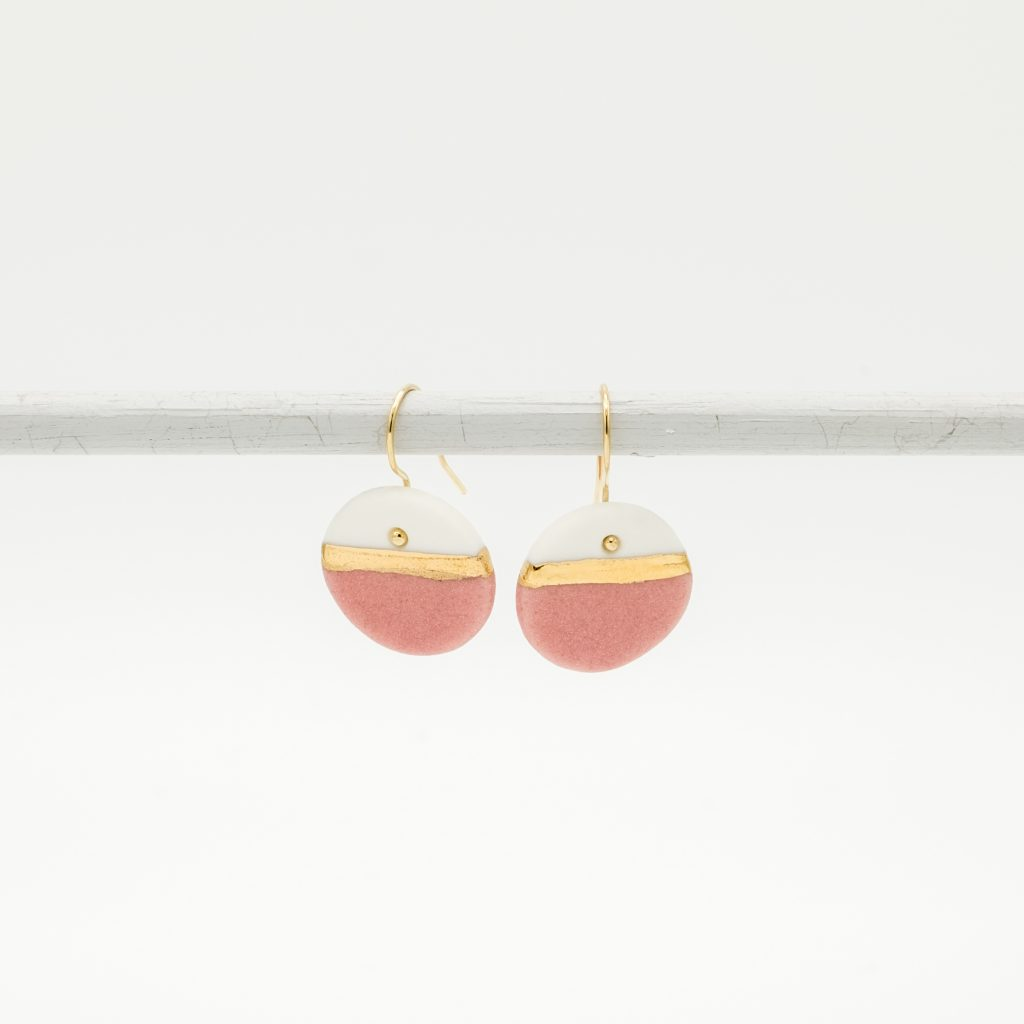 handmade porcelain earrings pink horizon m