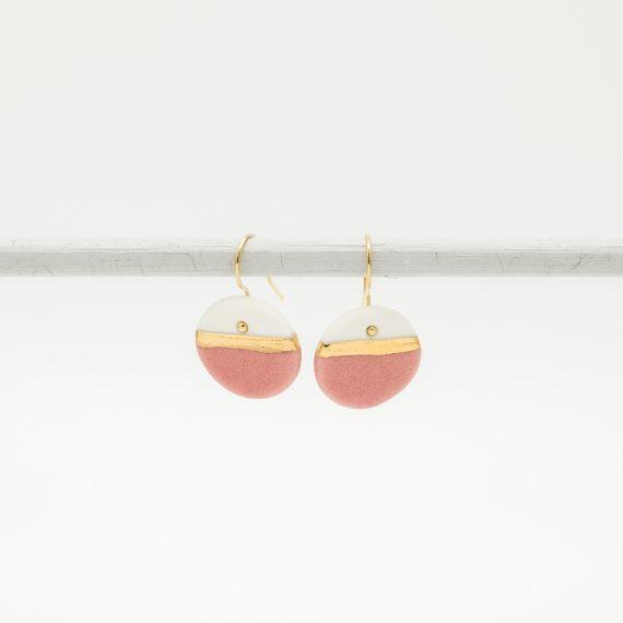 handmade porcelain earrings pink horizon m