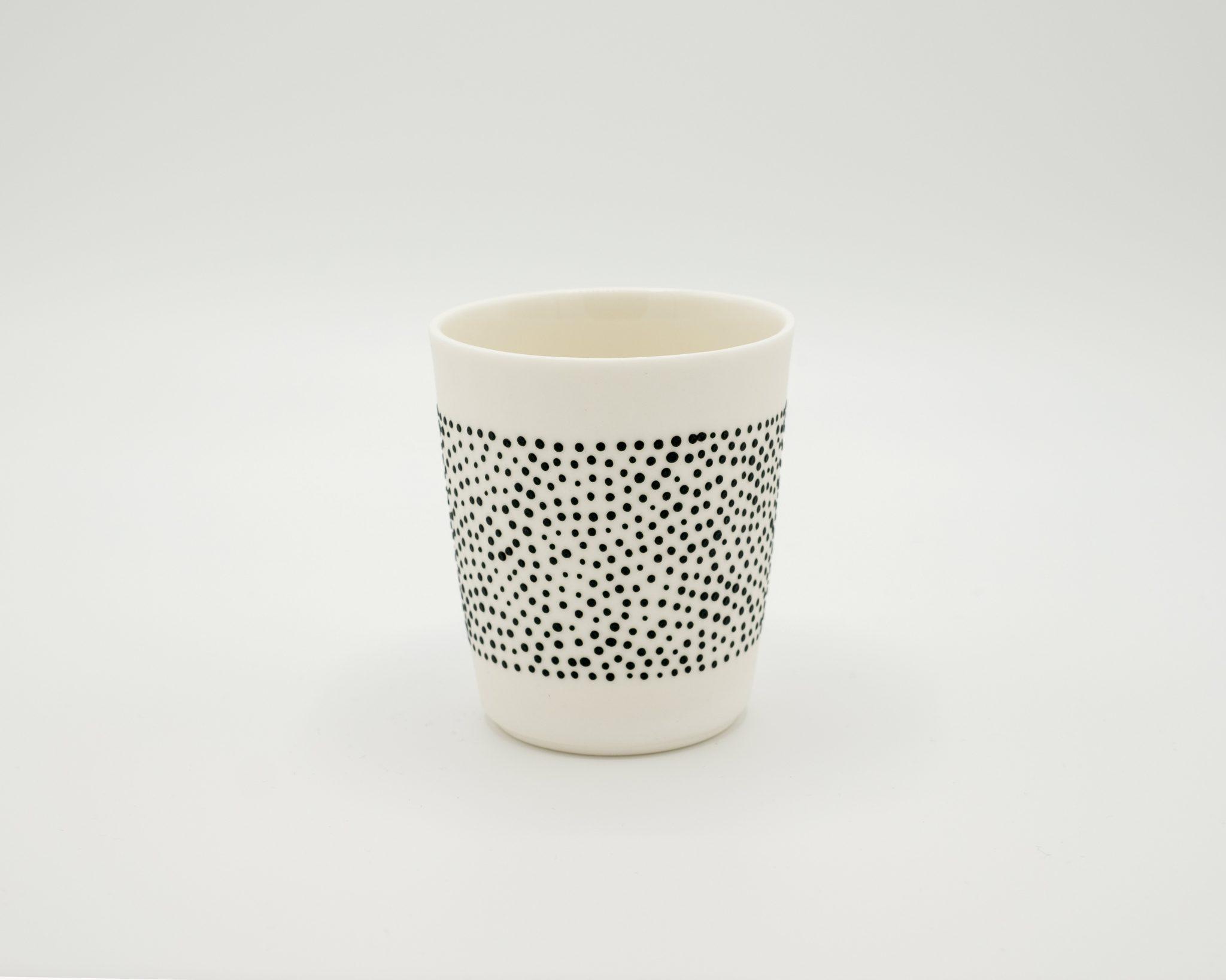 handmade porcelain espresso cup black dots