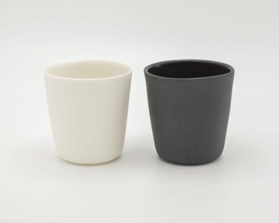 handmade espresso cup black and white