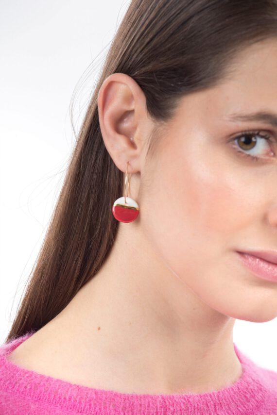 porcelain earrings golden horizon red hoops