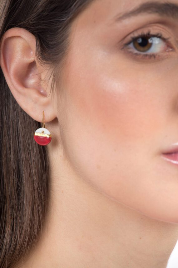 handmade porcelain earrings horizon red S