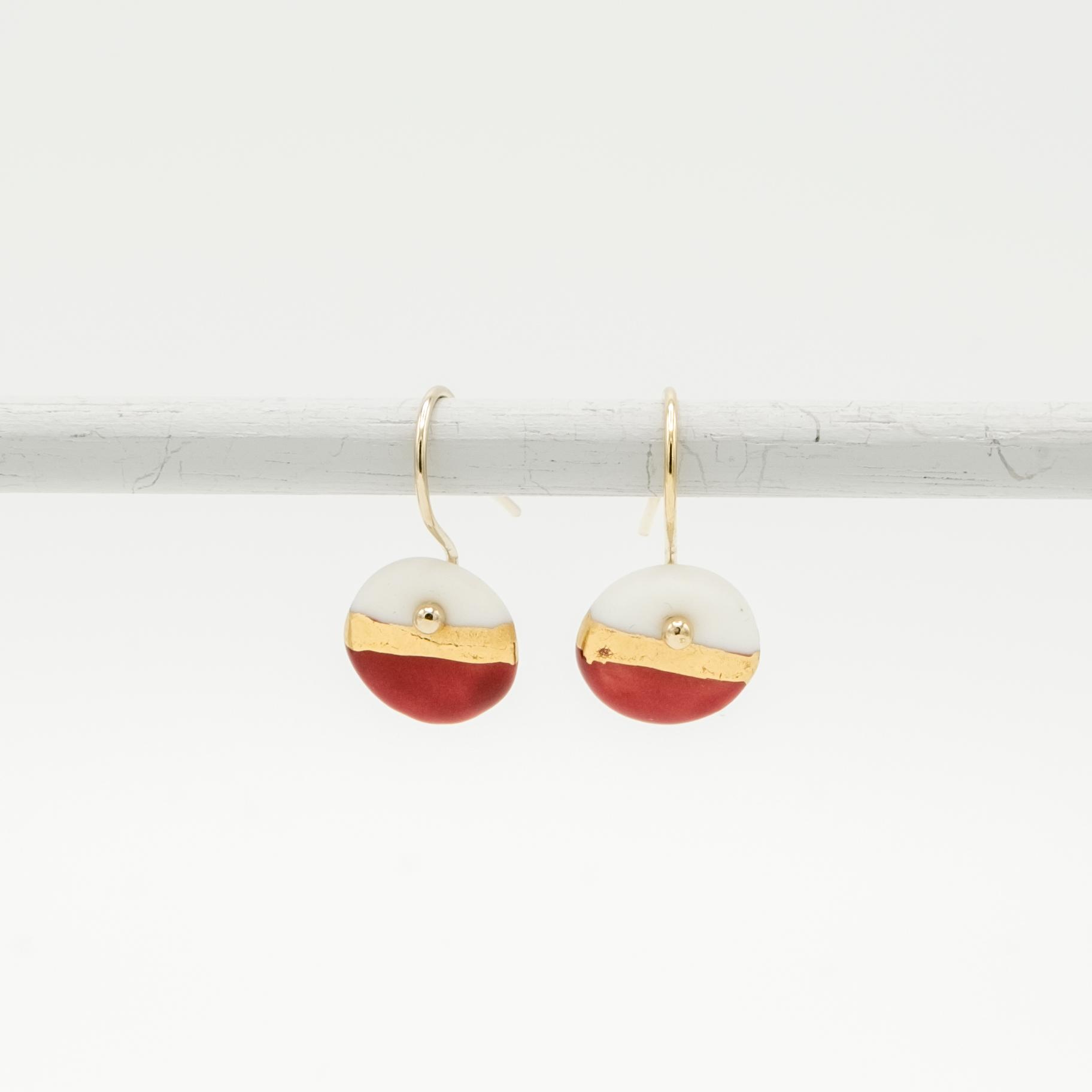 handmade porcelain earrings red horizon size s
