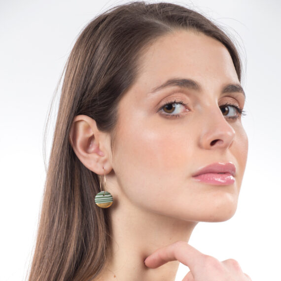 handmade porcelain earrings nerikomi green gold M