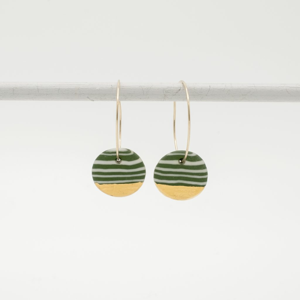 handmade porcelain nerikomi earrings green