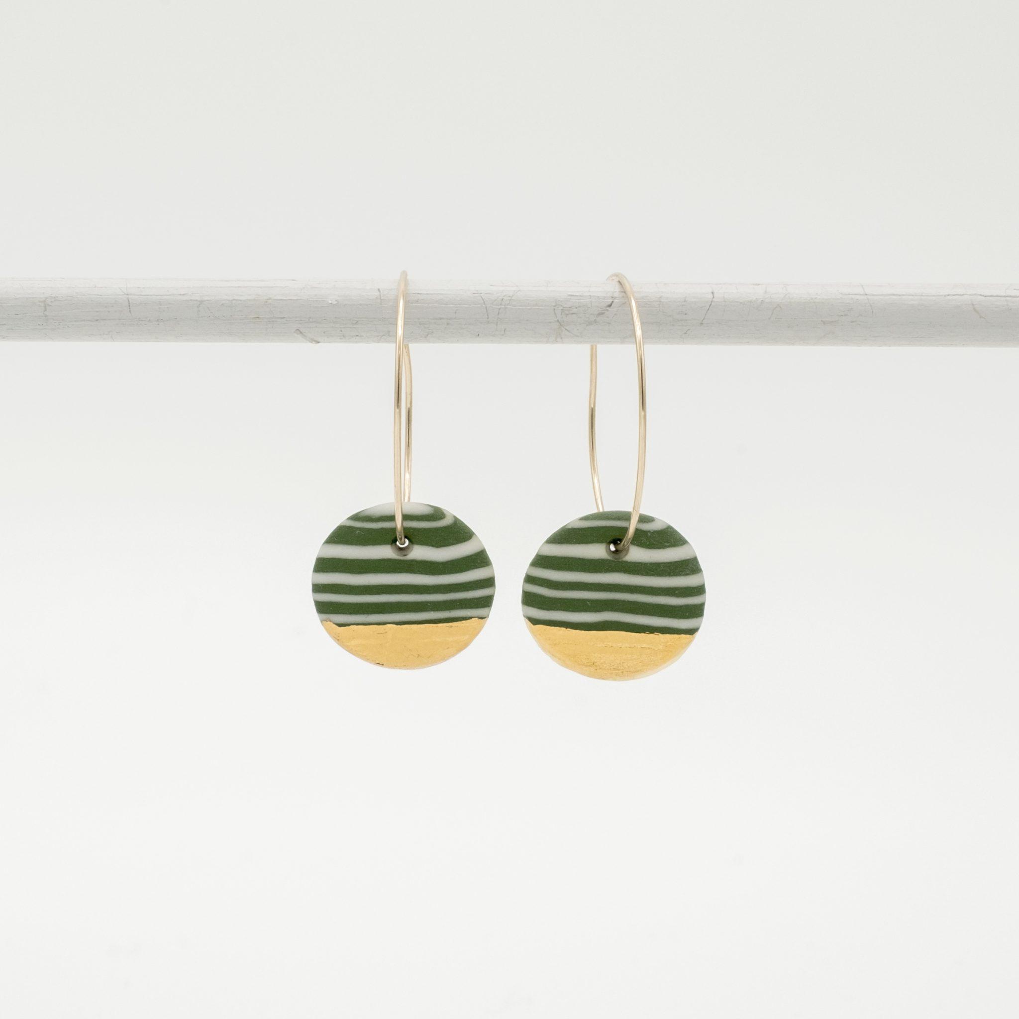 handmade porcelain nerikomi earrings green
