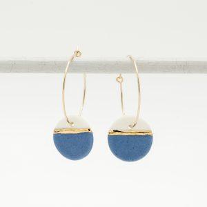 handmade porcelain earrings horizon blue M hoops