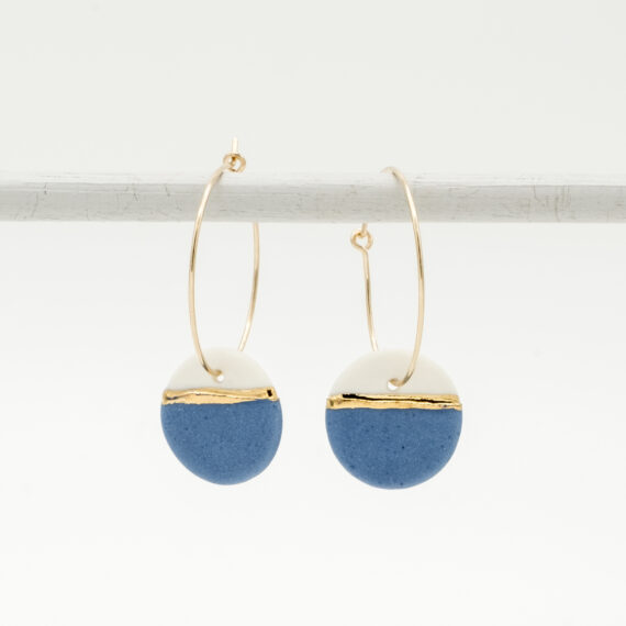 handmade porcelain earrings horizon blue M hoops