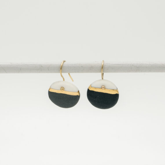 handmade porcelain earrings golden horizon black M