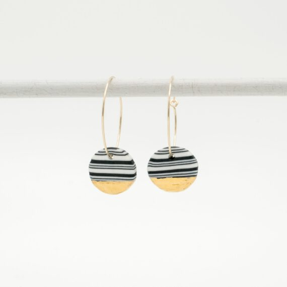handmade porcelain earrings nerikomi gold black medium hoops
