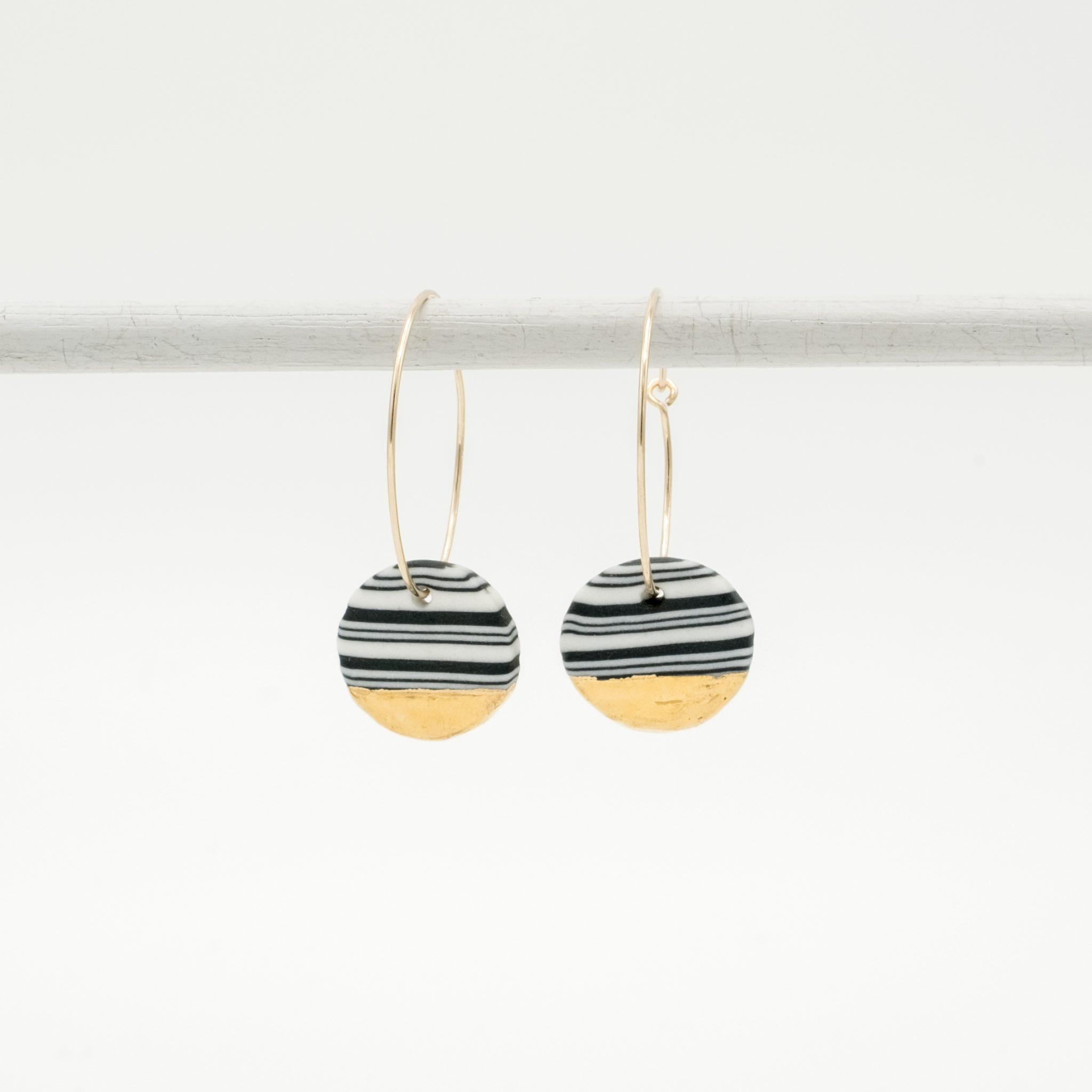 handmade porcelain earrings nerikomi gold black medium hoops