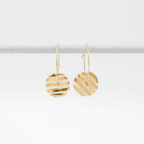 porcelain earrings golden stripes M hoops
