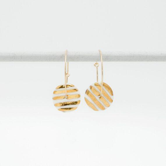 porcelain earrings golden stripes M hoops