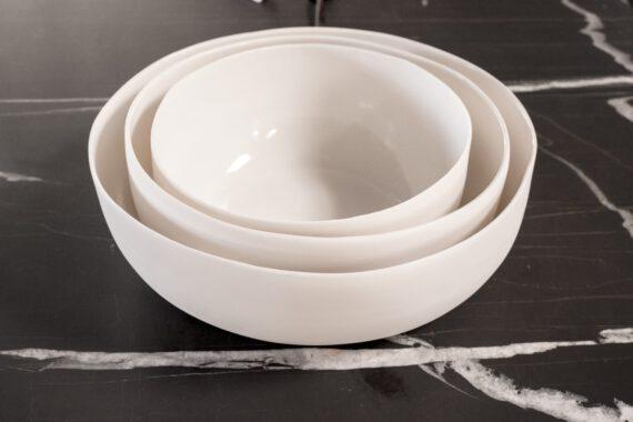 set of three handmade porcelain salad bowls