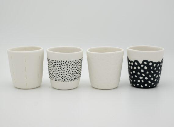 handmade espresso cups relief