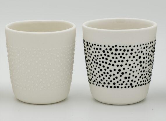 4 handmade porcelain espresso cups - black & white 'DOTS'
