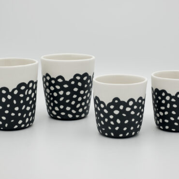 handmade porcelain small mug and espresso blackandwhite
