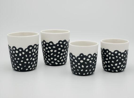 handmade porcelain small mug and espresso blackandwhite