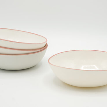 porcelain desert bowl pink rim