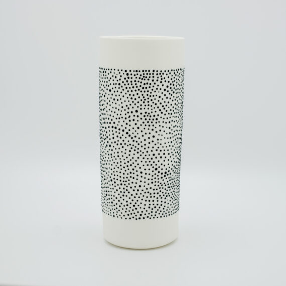 """Handmade porcelain vase 'long neck"""" from our 'DOTS' collection in black"""