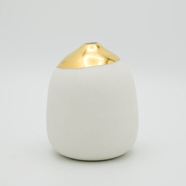 wheel thrown porcelain vase gold