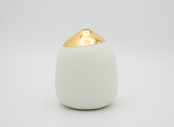 wheel thrown porcelain vase gold