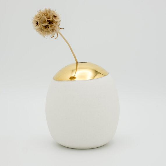 porcelain vase wheel thrown gold
